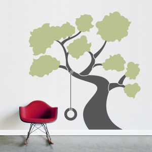 Tree with Tire Swing Wall Decal