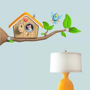 3D Bird Branch Wall Decal