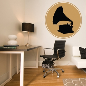 Record player vintage wall decal