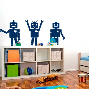 Robot Trio Wall Decal