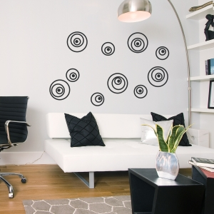 Black Crazy Circles Wall Decal