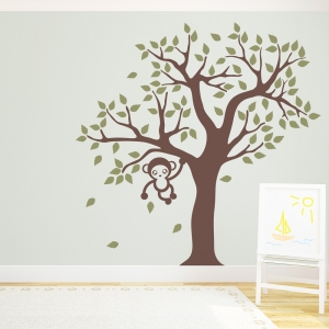 Cute Monkey Tree Wall Decal