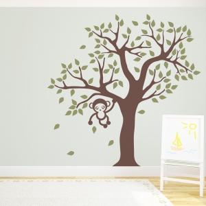 Cute Monkey Tree Wall Decal