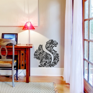 floral squirrel wall decal