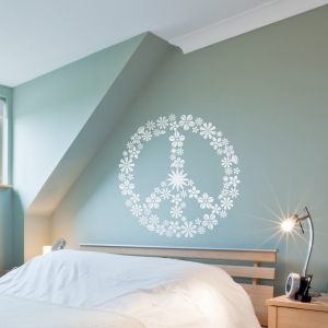 Flower Peace Sign Wall Decal