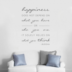 Happiness Buddha wall quote decal