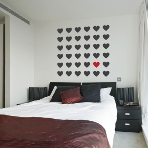 Grid of hearts wall decal