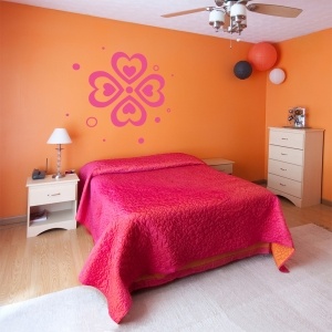 Abstract Heart Flower Wall Art Decal