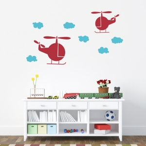 Helicopters and Clouds Wall Decal