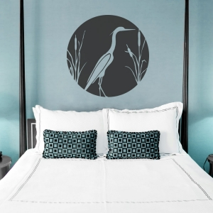 Heron and Cattails Wall Decal