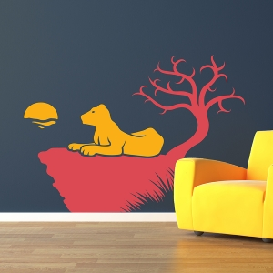 Lion & Rock Wall Art Decal