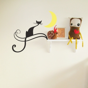 Midnight cat wall decal