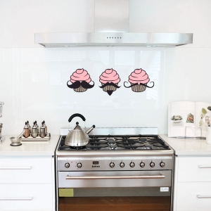 Mustache Cupcakes - Wall Art Decals