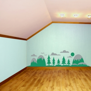Mountains and Pines Wall Decal