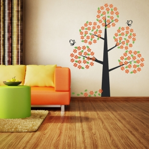 Orange Bloom Tree Wall Decal