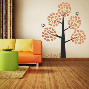 Orange Bloom Tree Wall Decal
