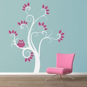 Swirly Owl Tree Wall Decal