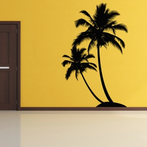 Dual Tropical palm tree wall decal & Tropical Wall Decals | Peel and Stick Wall Art | Wallums