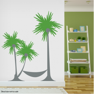 Palm tree hammock wall decal