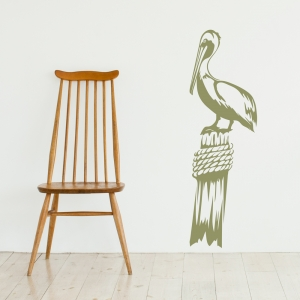 Pelican on Pier Post Wall Decal - Olive