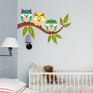 Three Owls Wall Decal