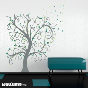 Curly Leaves Tree Wall Decal