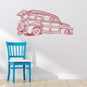 Woodie wagon wall decal