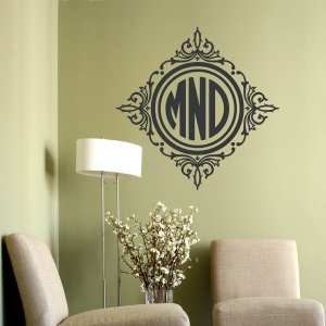 Circle Framed Monogram Wall Decal