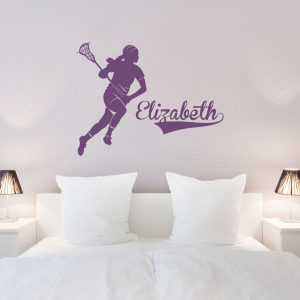 Female Lacrosse Player Custom Name Wall Decal