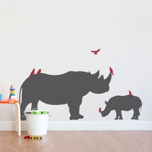 Rhino With Birds Wall Decal
