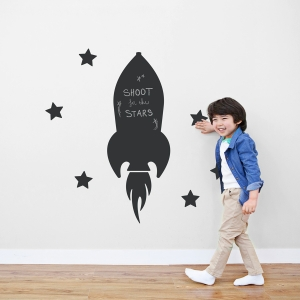 Flying Rocket Chalkboard Wall Decal
