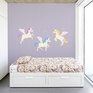 Unicorn Trio Printed Wall Decal