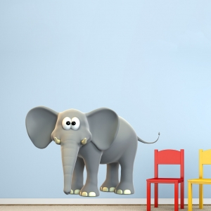 3D Elephant Printed Wall Decal