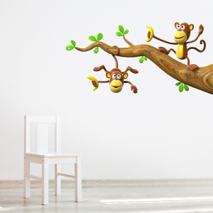 3D Monkey Branch Printed Wall Decal