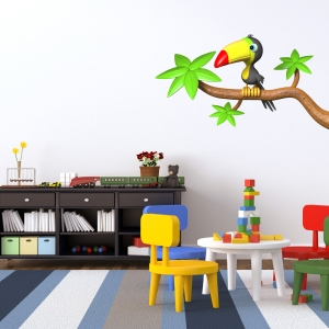 3D Toucan Branch Wall Decal