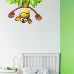 3D Upside Down Monkey Wall Decal