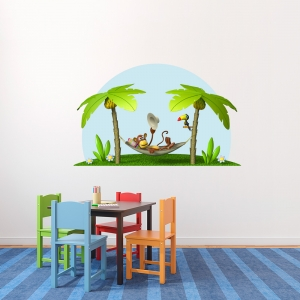 3D Monkey In A Hammock Printed Wall Decal