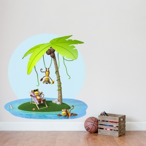 3D Monkey Party Wall Decal