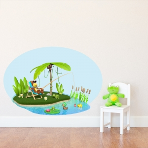 3D Monkey Fishing Wall Decal