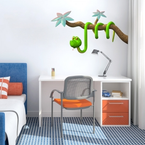 3D Snake Branch Green Wall Decal