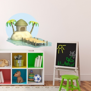 3D Island Hut Printed Wall Decal