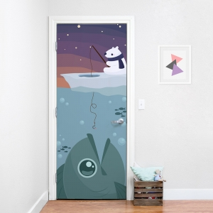 Arctic Polar Bear Fishing Door Mural