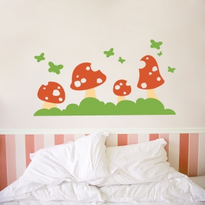 Butterfly Toadstool Wall Decal