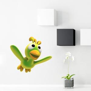 3D Green Bird Printed Wall Decal