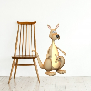 3D Kangaroo Printed Wall Decal