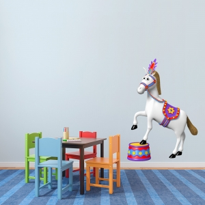 3D Circus Horse Printed Wall Decal