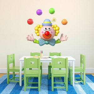 3D Juggling Clown Wall Decal