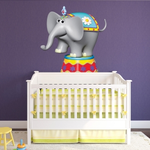 3D Circus Elephant Printed Wall Decal