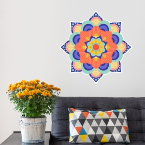 Colorful Mandala Printed Wall Decal