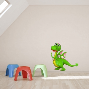 3D Dragon Girl Wall Decal